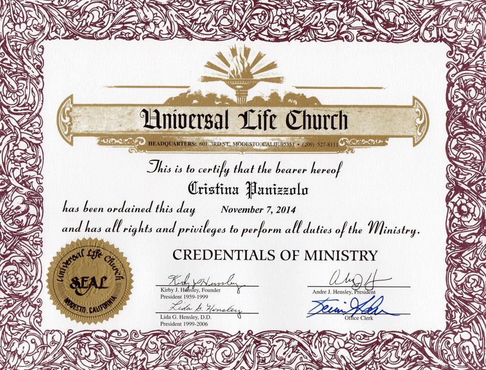 Certificato Matrimonio Simbolico : Spiritual officiant chi sono